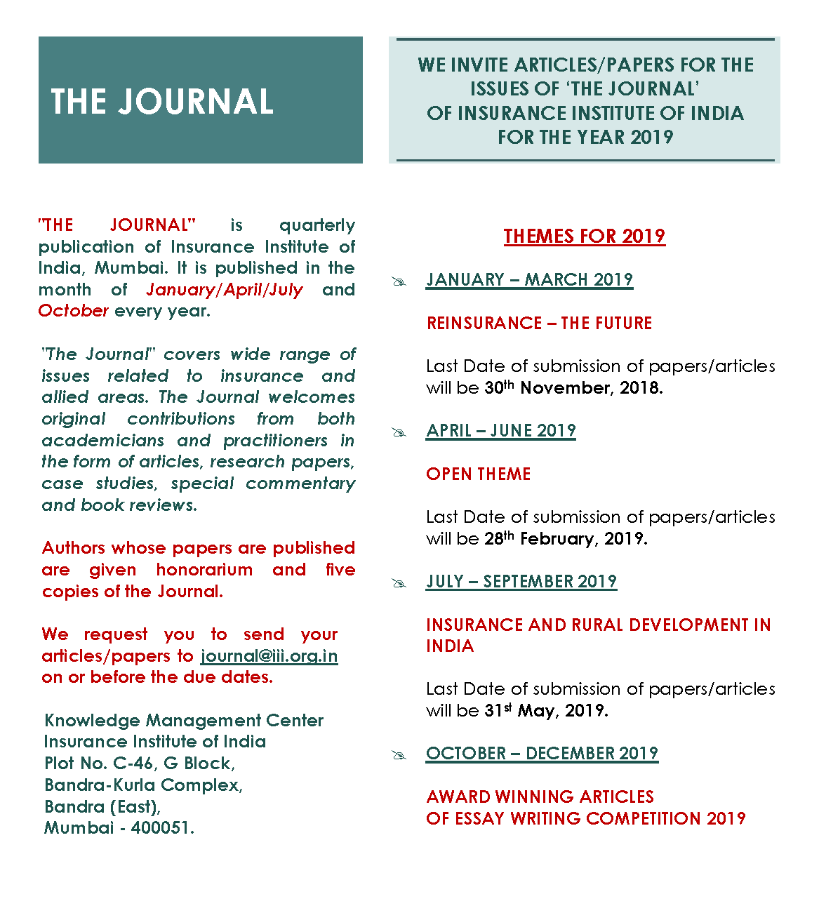 Journal - College Of Insurance